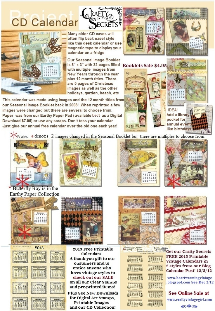 Idea Sheet For Creating A Desk Or Fridge Calendar Using Our