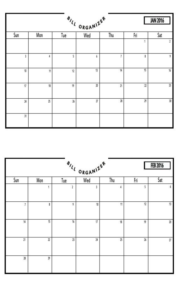 Items Similar To Bill Payment Calendar 2016
