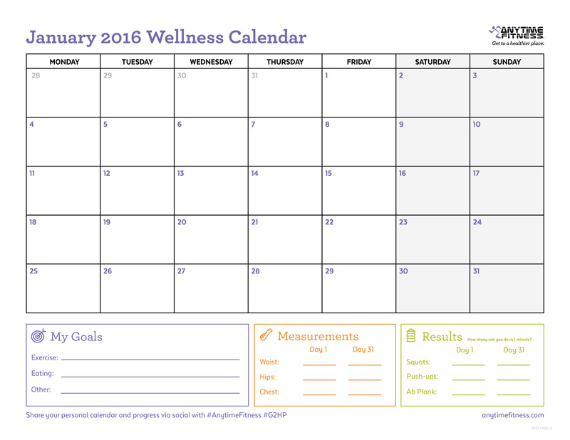 January 2016 Calendar To Track Your Fitness Plan & Progress