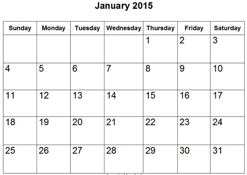 January Calendar 2016 Editable