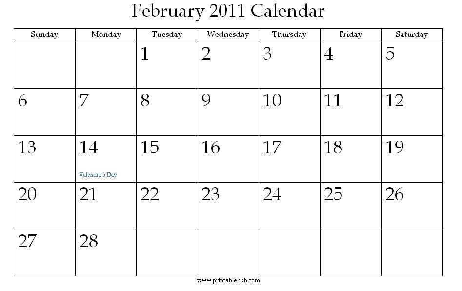 Jolie Blogs  February Calendar Printable Free