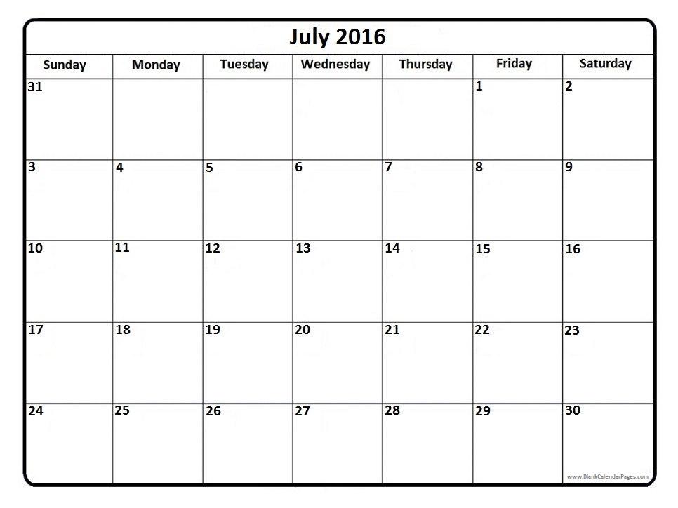 July 2016 Calendar  July2016calendar