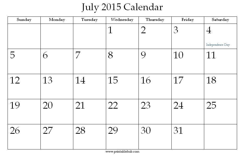 July Calendar Printable