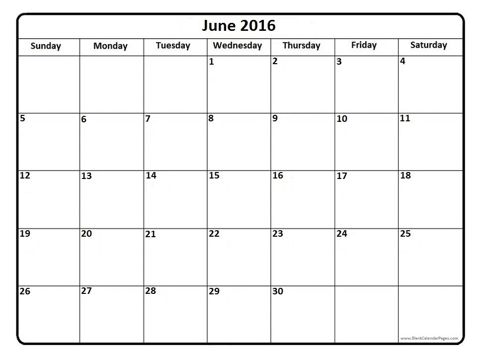 June 2016 Printable Calendar With Lines