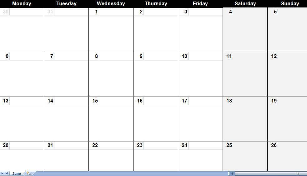 June Calendar Template Blank