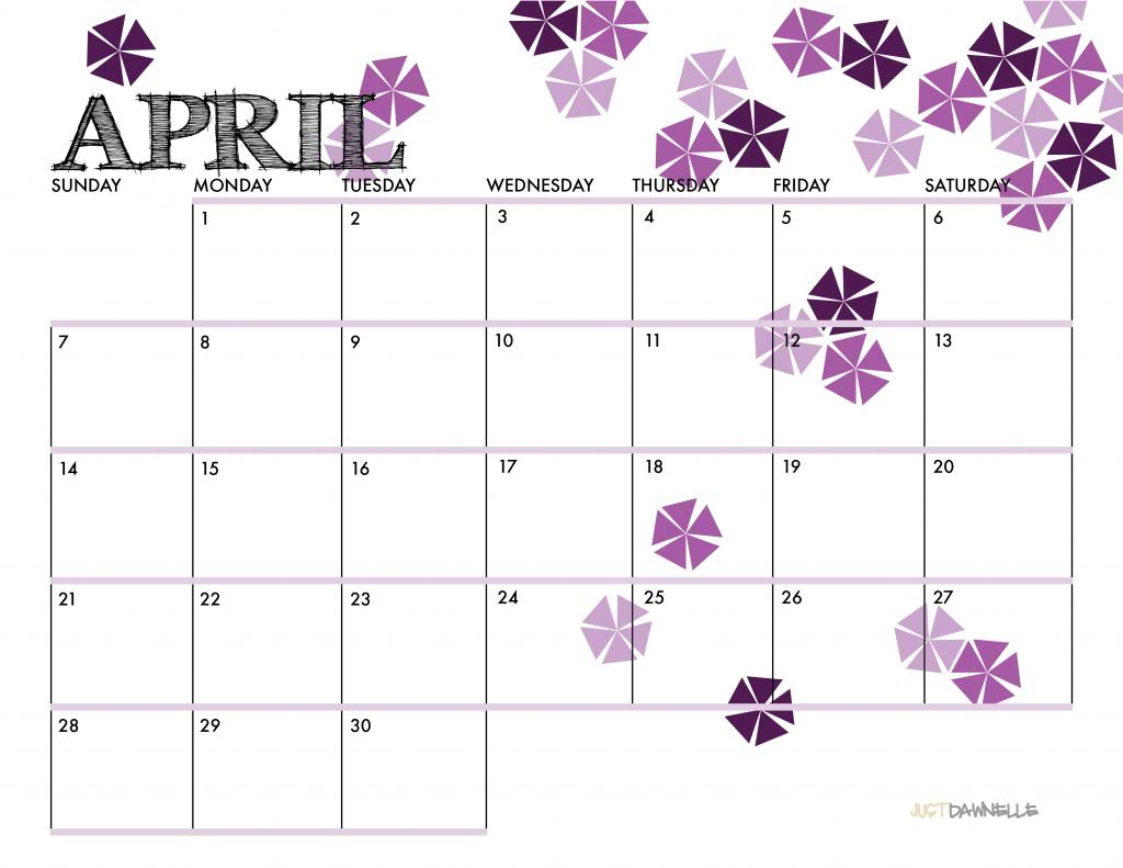 Just Dawnelle  April 2013 Printable Calendar