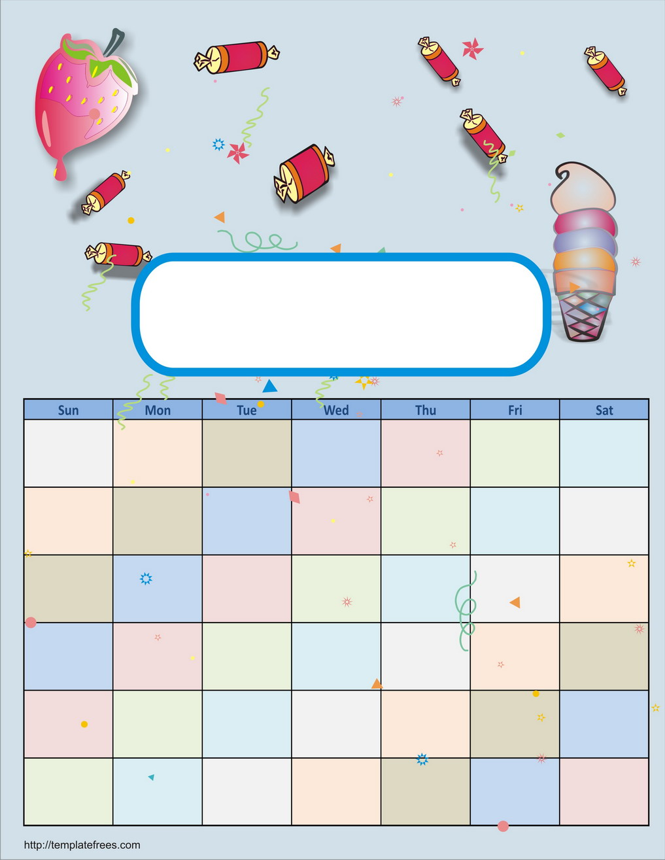 Blank Calendar Kid Friendly : Kid printable calendar template