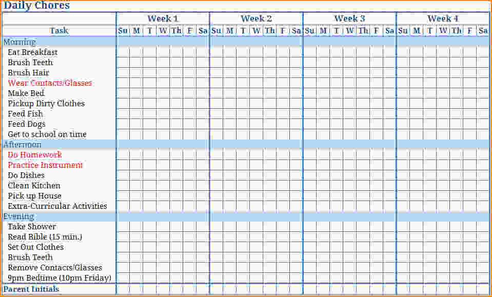 Kids Chore Chart Template Printable Blank Childrens Chore Charts
