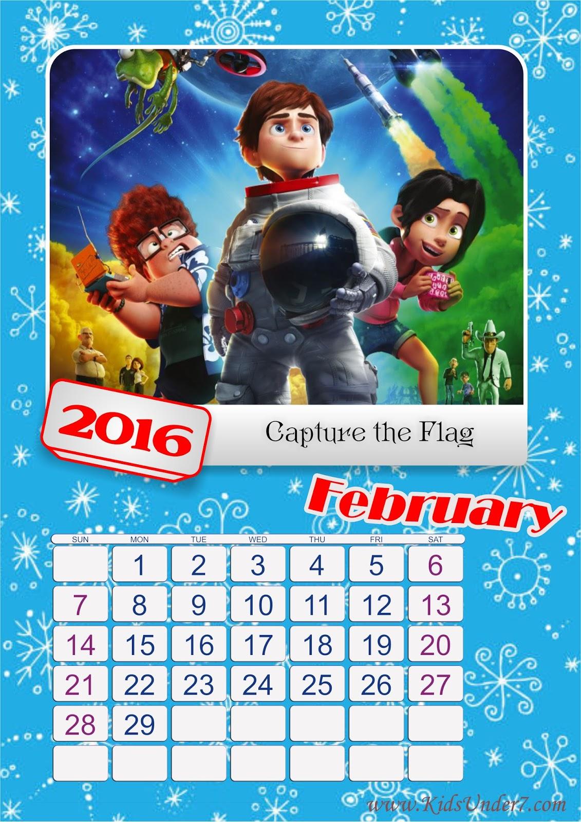 Kids Under 7 2016 Printable Calendar For Kids