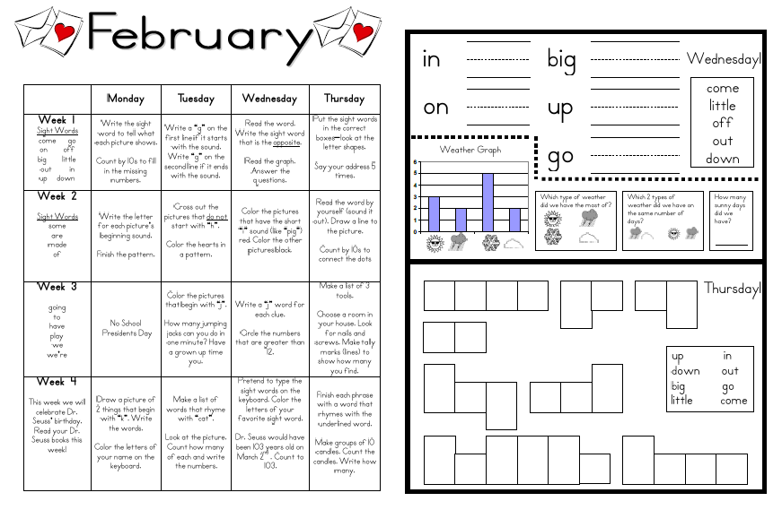 Kindergarten Calendar Template 2012