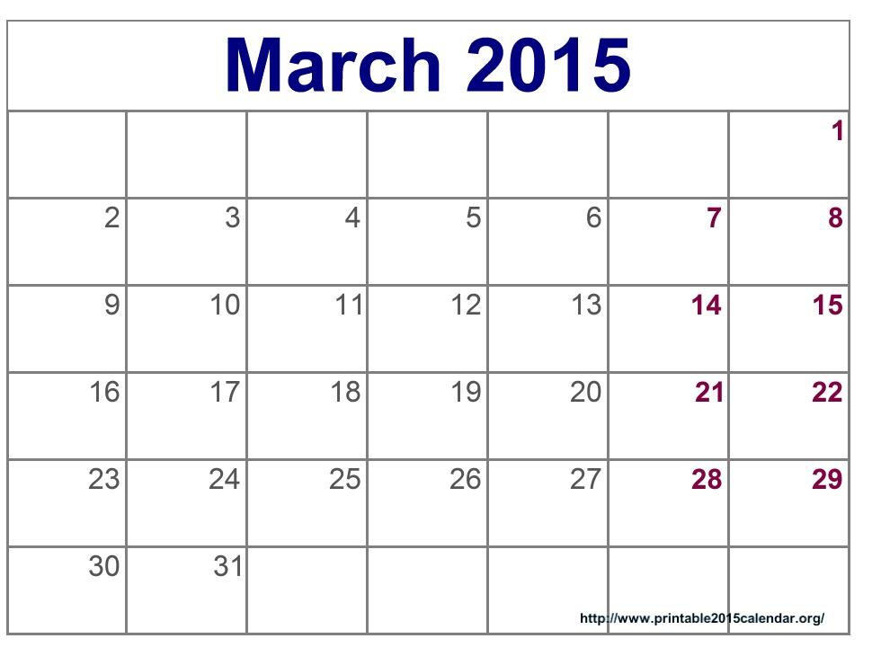 March 2015 Calendar Printable