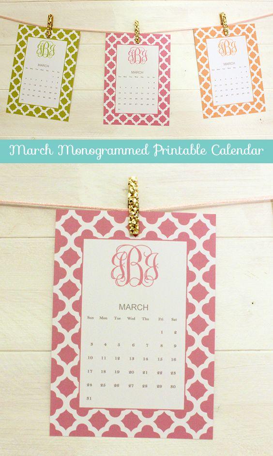 March Monogrammed Printable Calendar By Forchicsake Com
