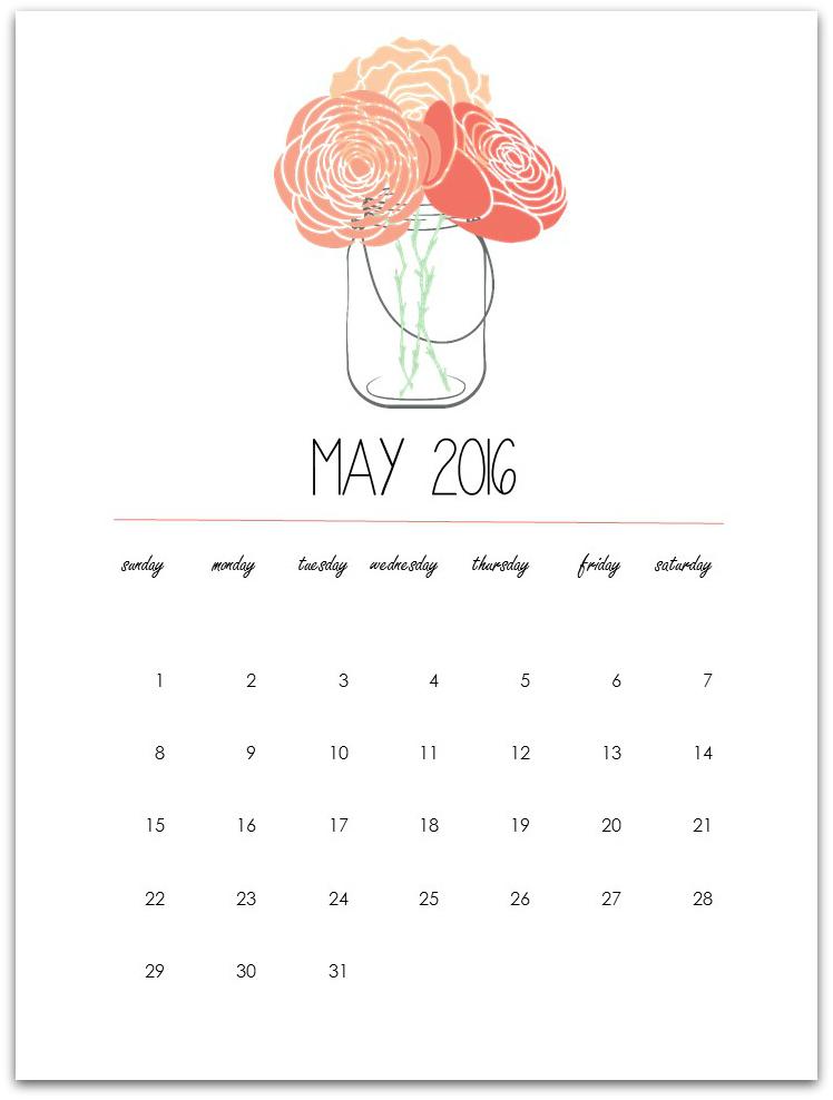 Mason Jar Calendar Page Printable