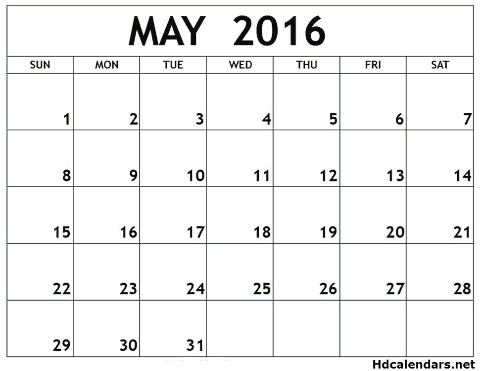 May 2016 Calendar Uk Free Download