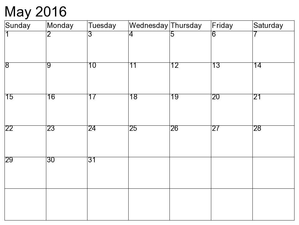 May 2016 Calendar Word Excel Pdf