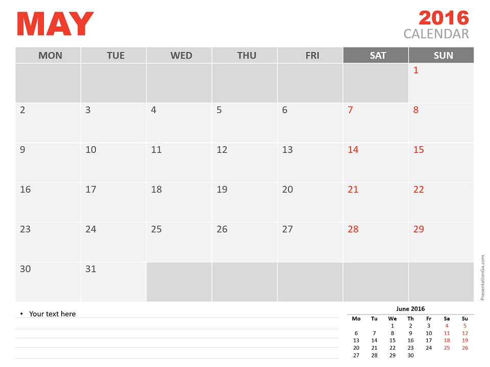 May 2016 Powerpoint Calendar