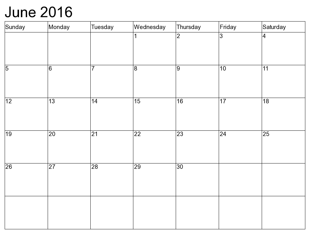 Month Of June Calendar