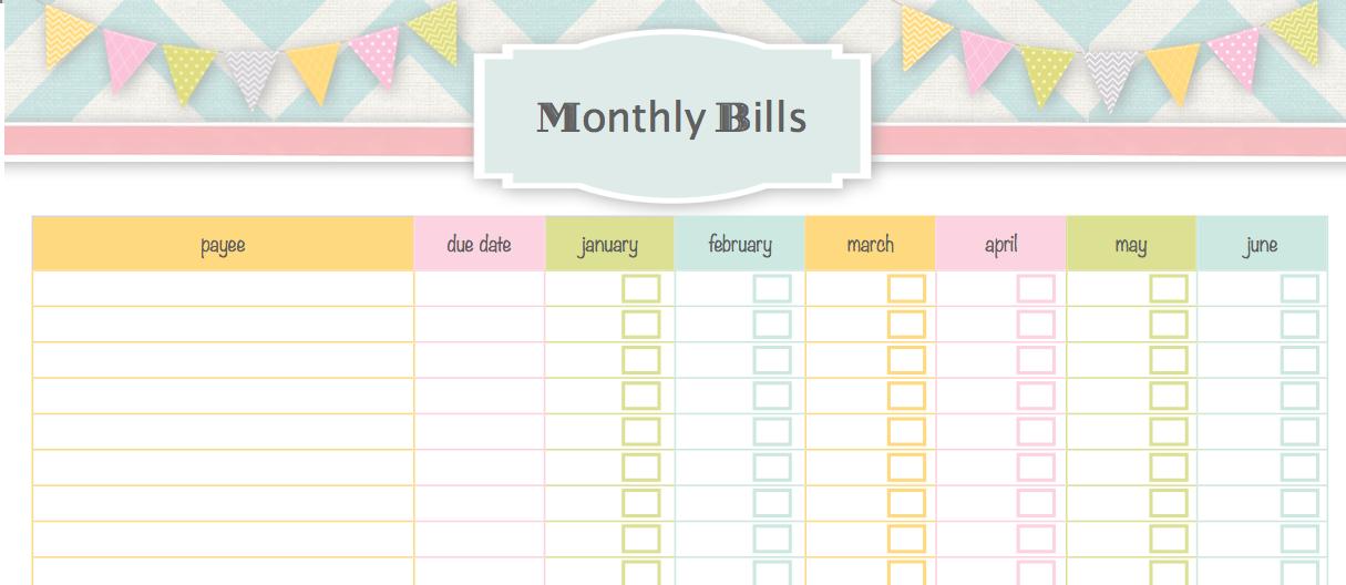 Monthly Bill Calendar Template