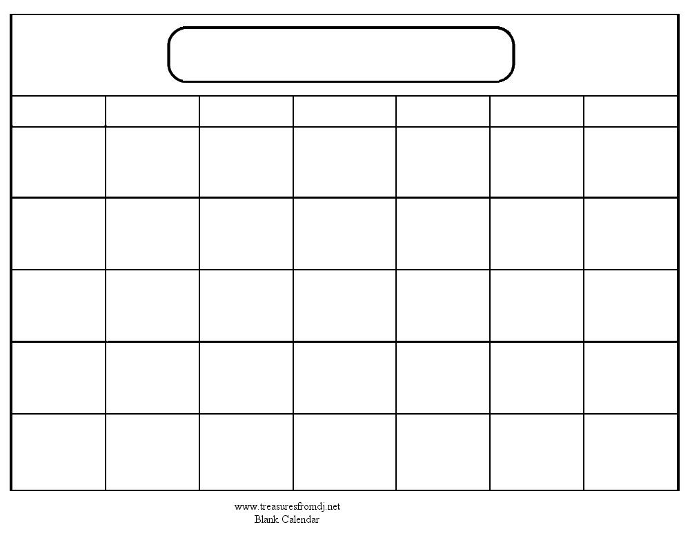 Monthly Calendar Outline Printable