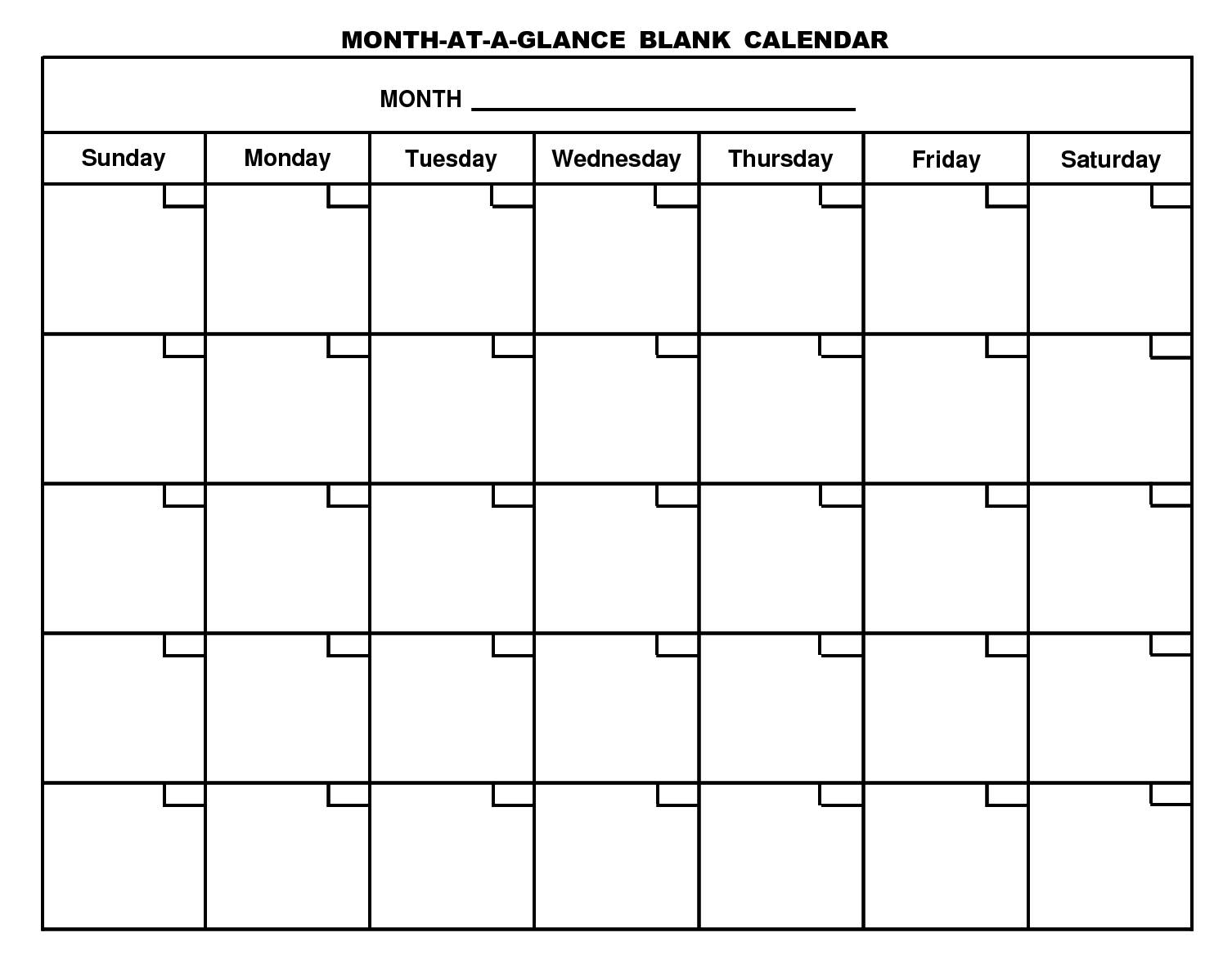 Monthly Calendar Print Out