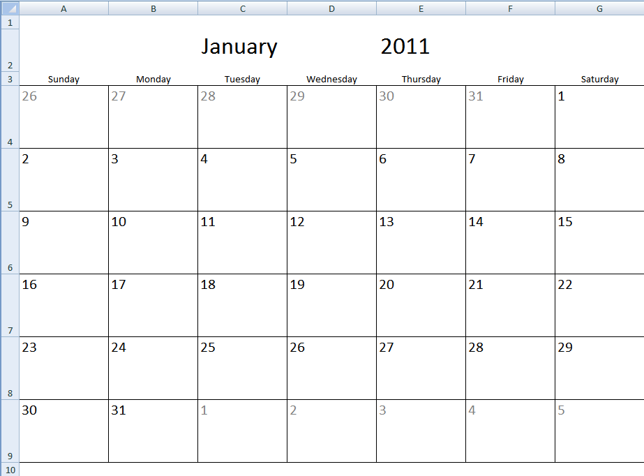 Monthly Calendar Schedule