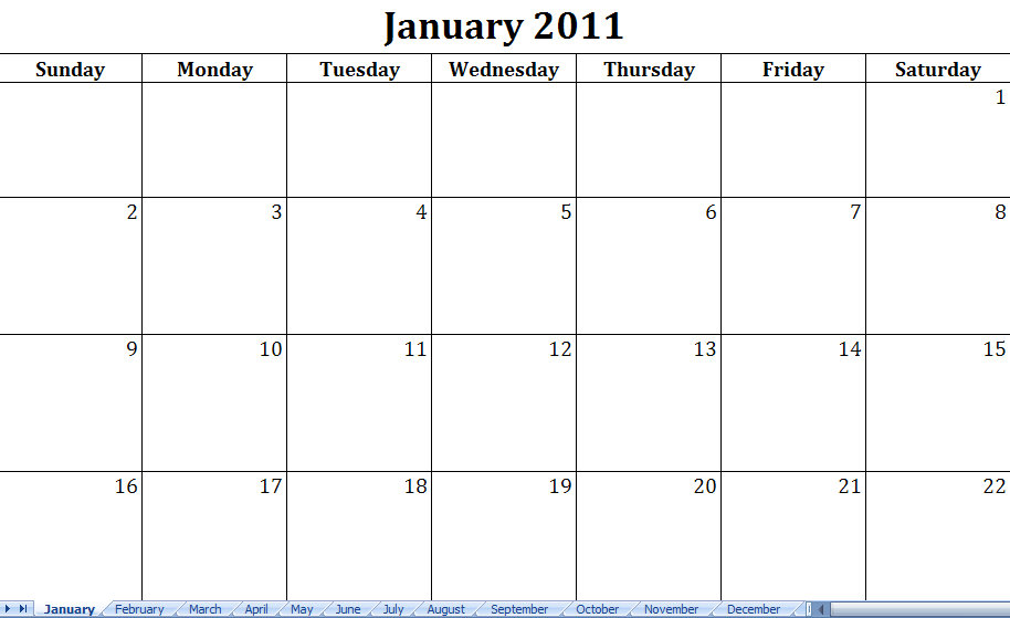 Monthly Calendar To Print