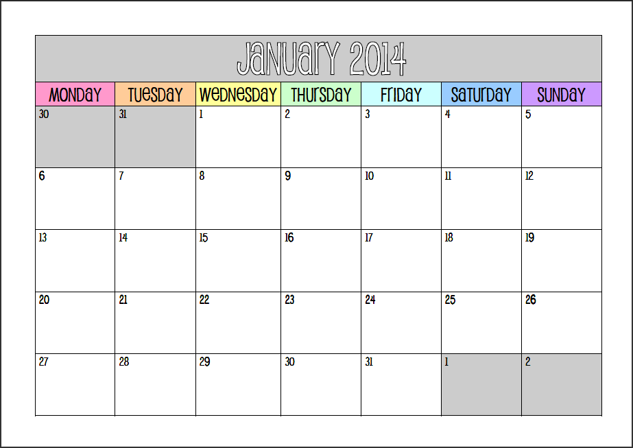 More Printable Monthly Calendars! (for 2014 This Time