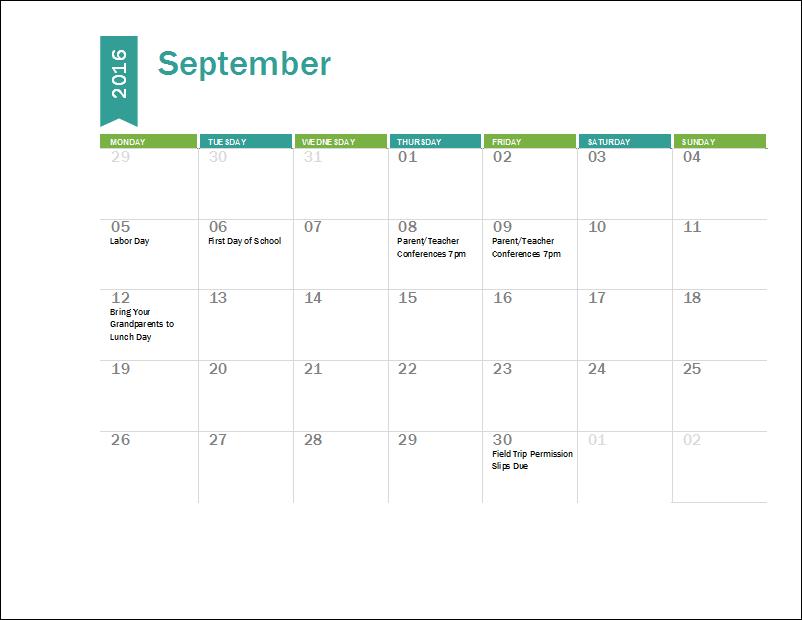 Ms Excel Academic Calendar Template 2016
