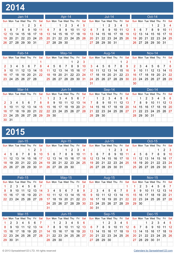 Multiple Years Calendar Template For Excel
