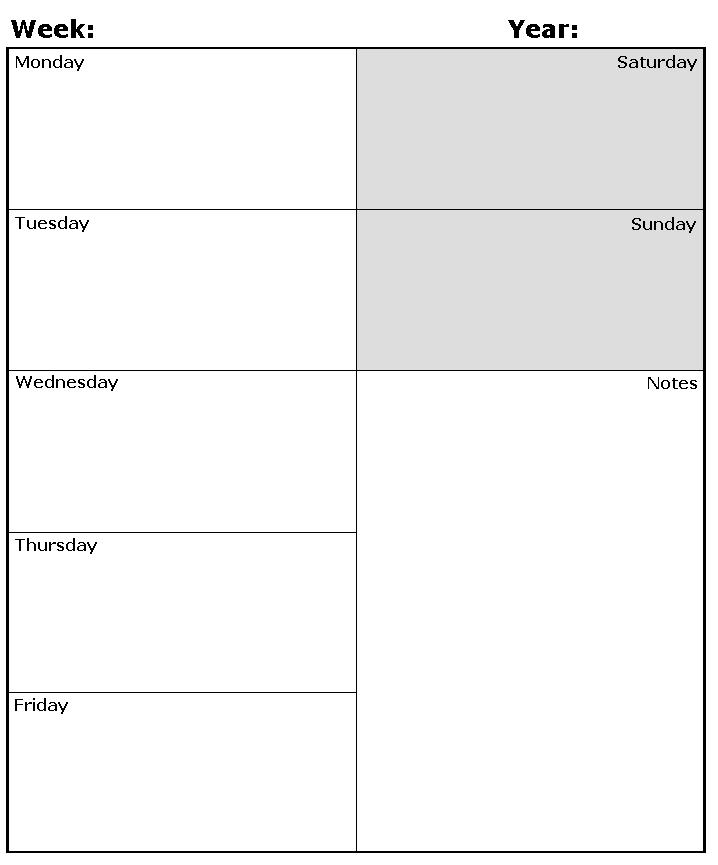 New Weekly Calendar Templates