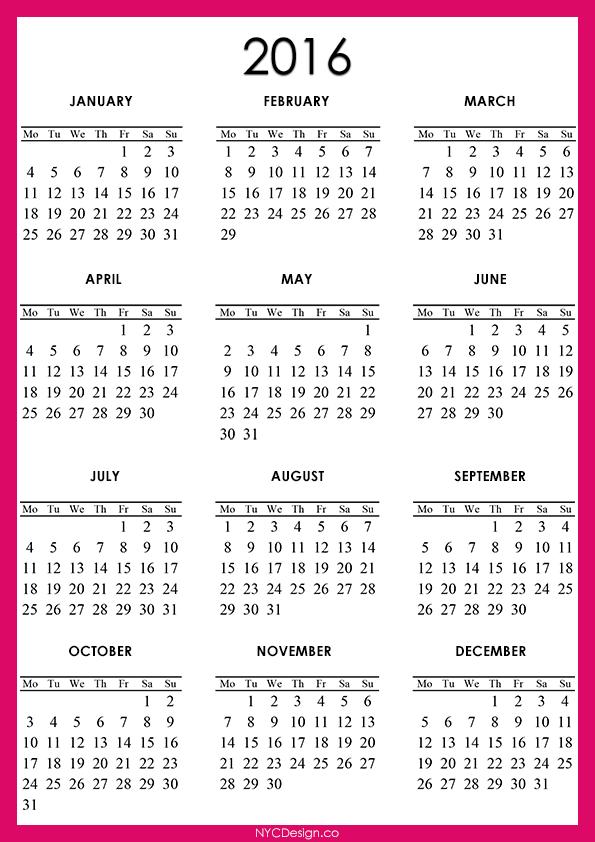 New York Web Design Studio, New York, Ny  2016 Calendar Printable