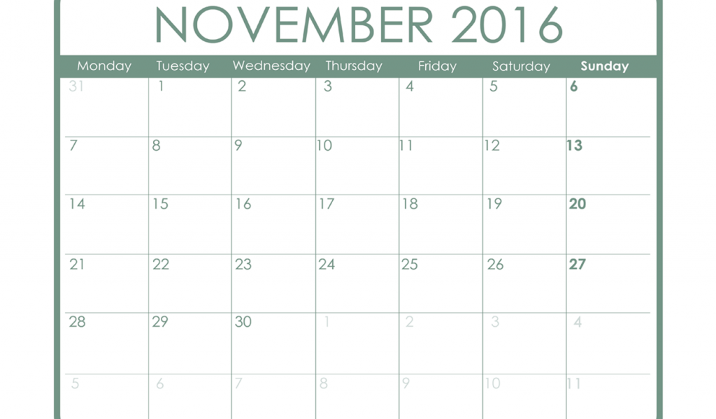 November 2016 Printable Calendar Free Template Pdf Word One Page