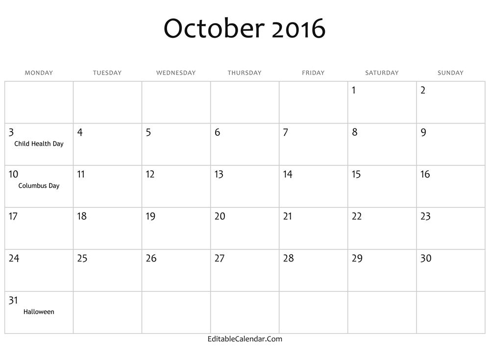 October 2016 Calendar Waterproof » Event Calendar 2016