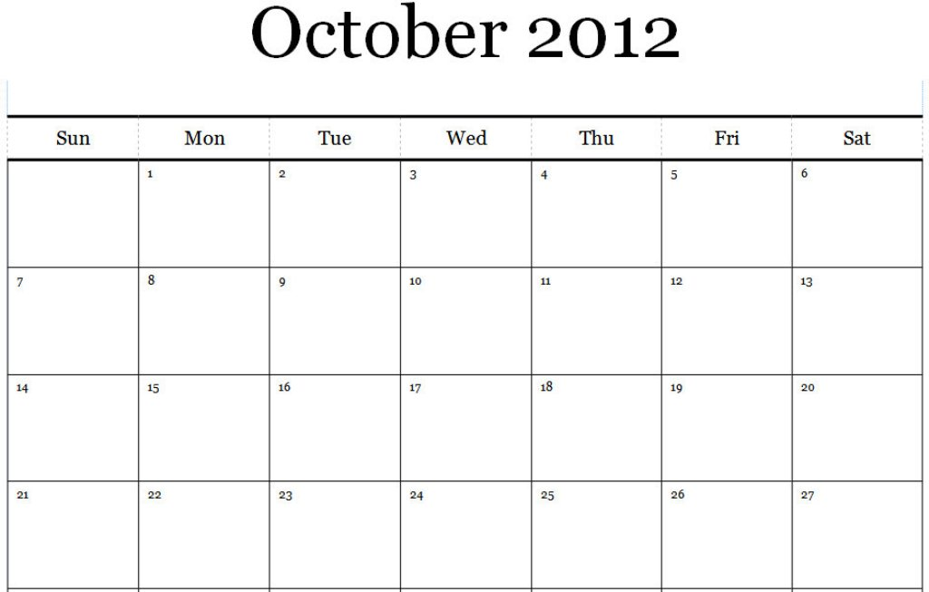Printable Calendar For October  Calendar Template