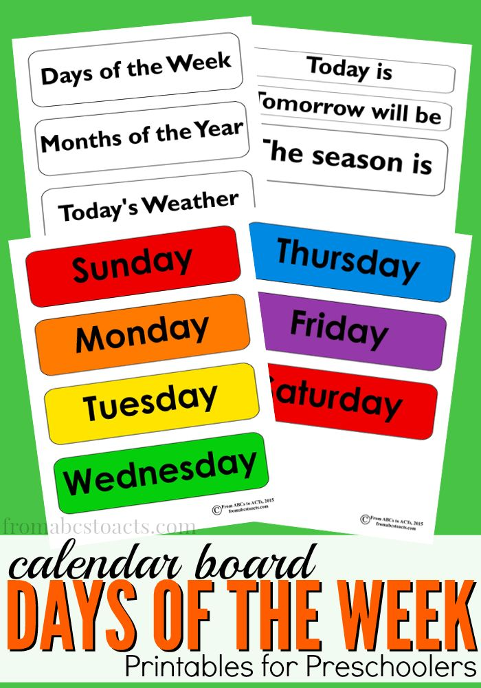 Preschool Calendar Board Days Of The Week Printables