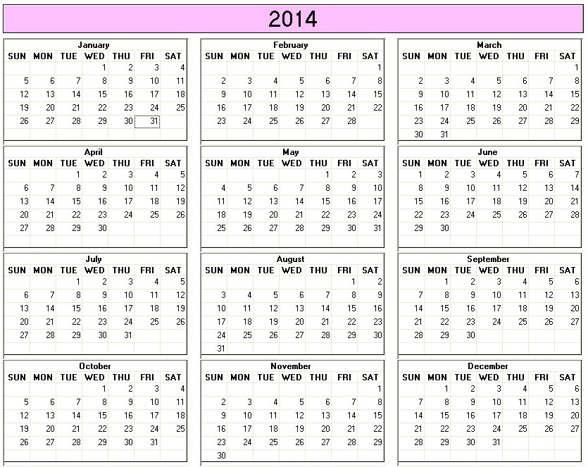 Printable 2014 Colourful Calendar — Crafthubs