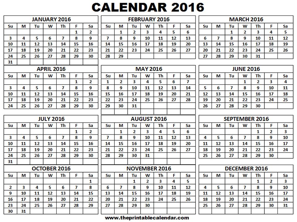 Printable 2016 Calendar
