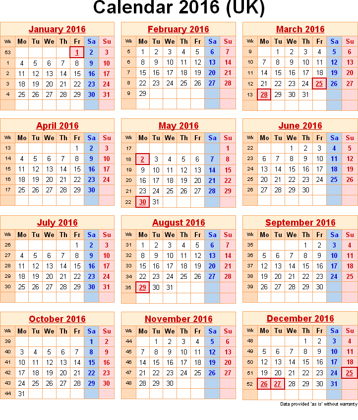 Printable 2016 Calendar With Uk Holidays Excel Pdf