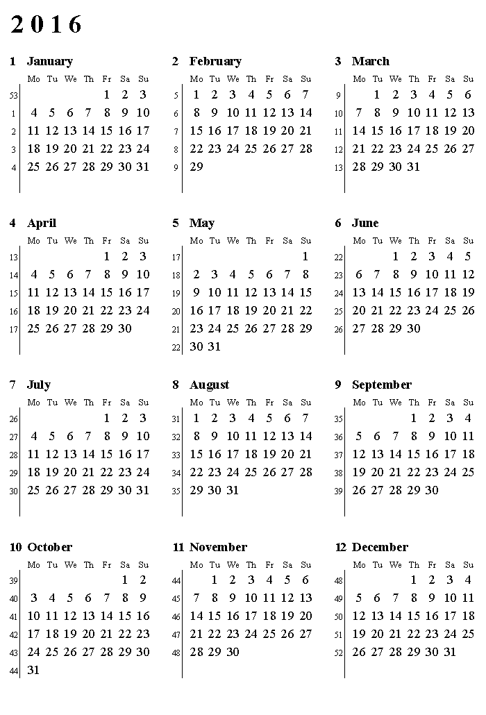 Printable 2016 Calendar With Weeks Numbered Printable