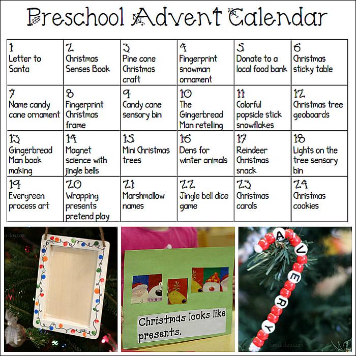 Printable Advent Calendar For Preschoolers