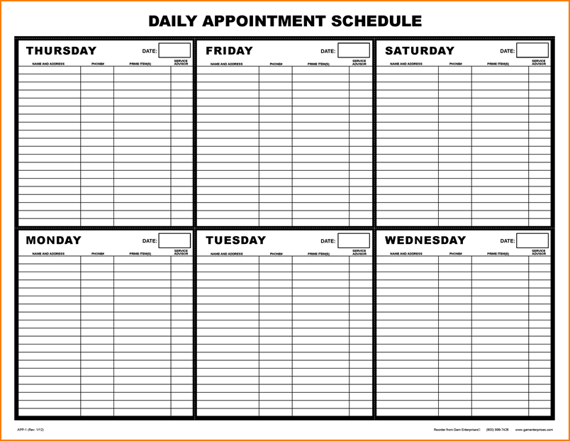 Printable Appointment Calendar Appointments Schedule Template Png