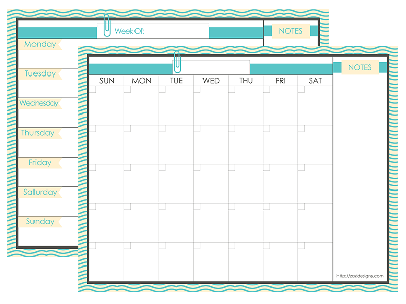 Printable Blank Monthly And Weekly Planner Calendar With Notes