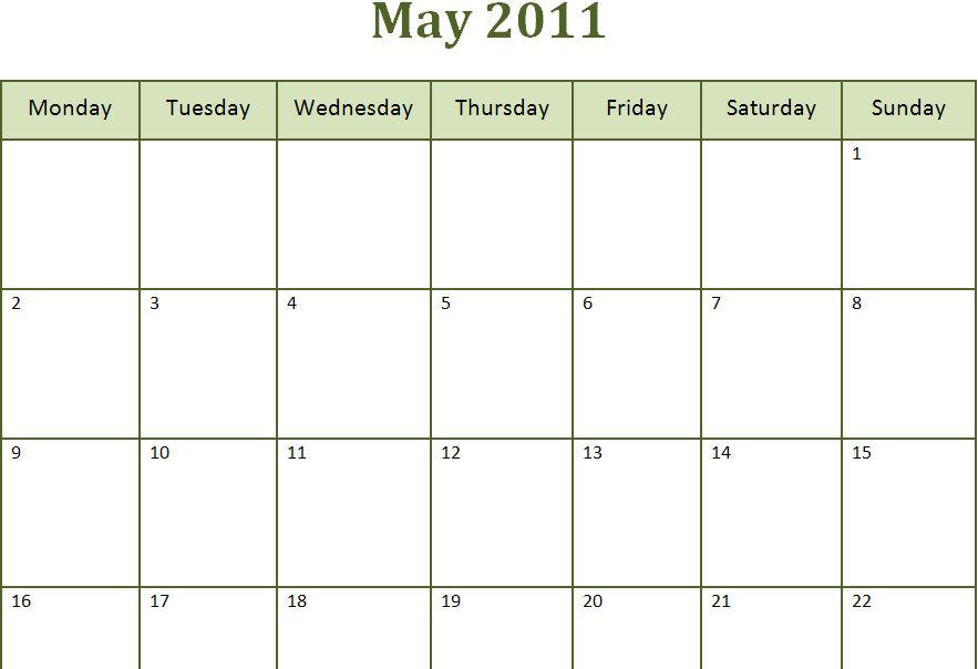 printable calendar month