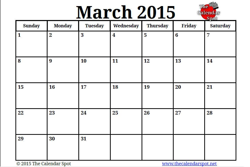 Printable Blank Pdf March 2015 Calendar