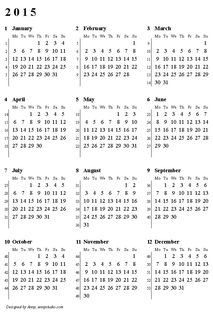 Printable Calendar 2015, Weeks Start On Monday, With Week And