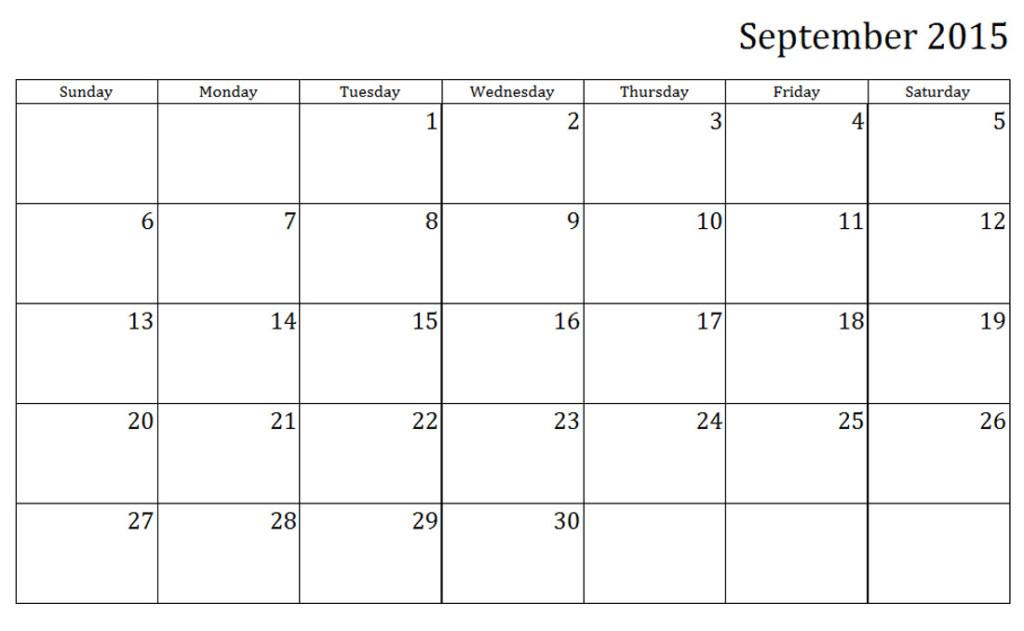 Printable Calendar 2016  { Free^^} September 2015 Printable Weekly