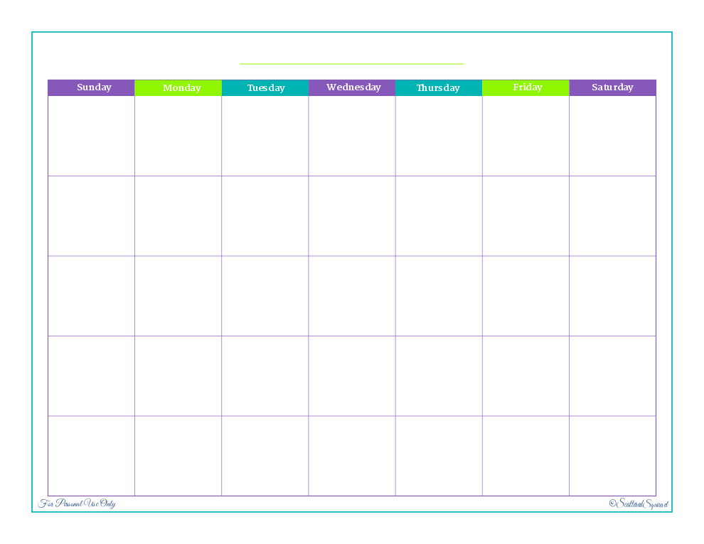Printable Calendar By Month For 2012