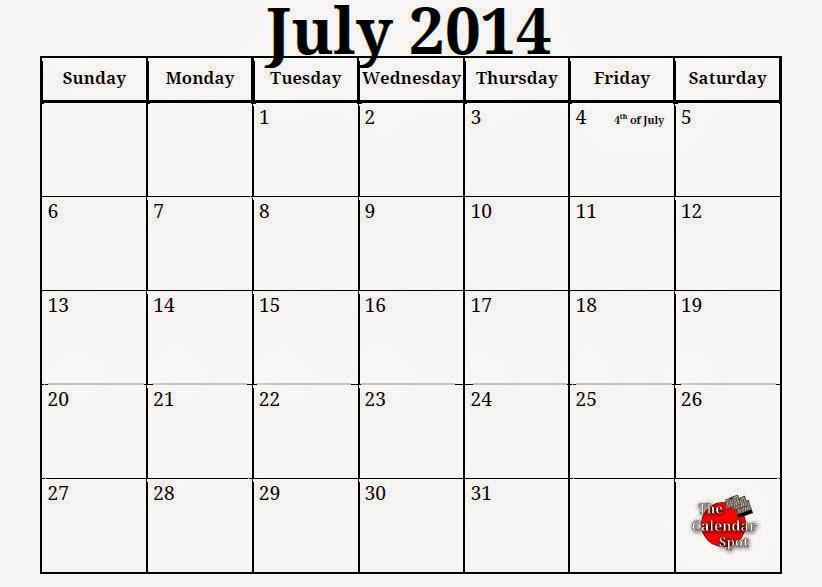 Printable Calendar For July