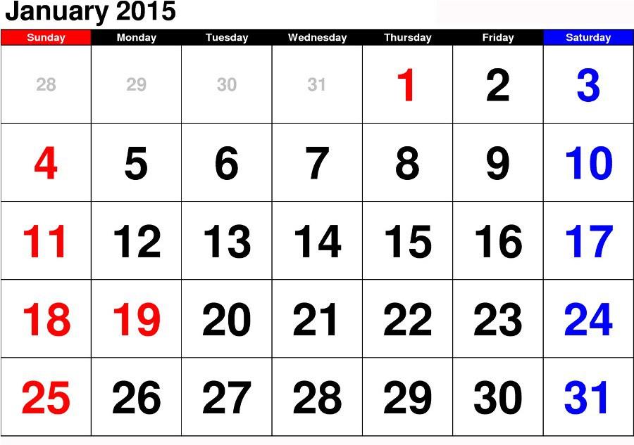 Printable Calendar January 2014 Waterproof