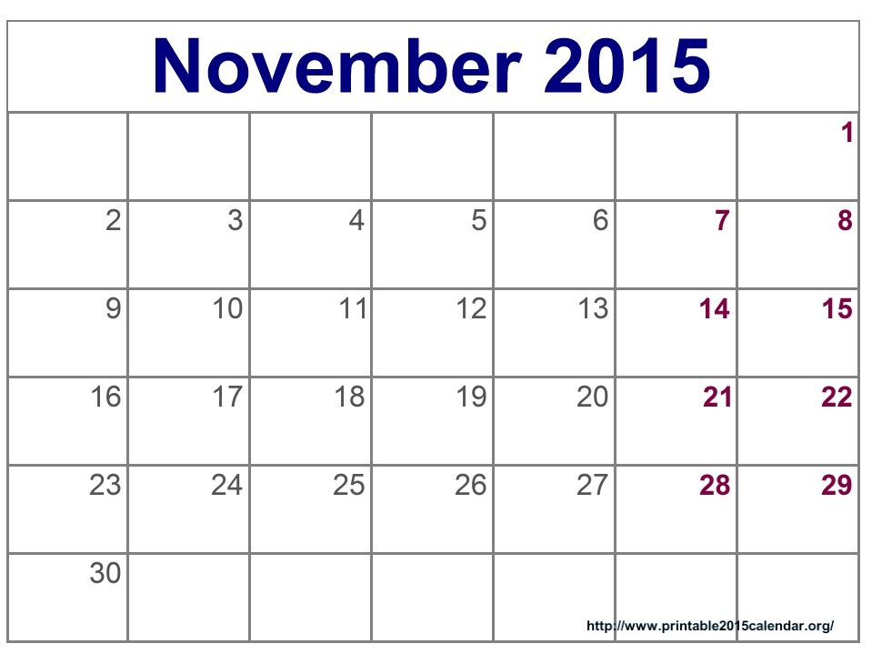 Free November Printable Calendar Calendar Template 2018